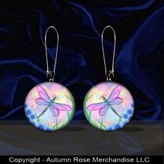 Pink Dragonfly Button Earrings Flower Mother of Pearl Handmade Silver Plated #Handmade