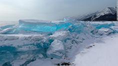 Breathtaking turquoise ice at Lake Baikal, Russia