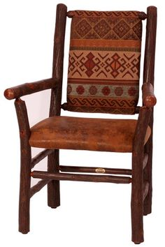 The 608C Dining Arm Chair from Old Hickory Furniture Company is their best selling dining chair. It's beautiful rustic hickory log frame and upholstered seat and back have generous proportions for comfort and beauty. For more details click here http://lizann.myshopify.com/collections/rustic-furnishings/products/old-hickory-608c-dining-arm-chair