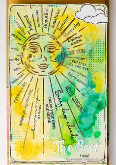 Layers of ink - Sunshine Art Journal Page tutorial by Anna-Karin Evaldsson. Art Journal Pages, Simon Says Stamp Blog, Distressed Painting, Happy Art, Artist Trading Cards, Card Making Inspiration, Mixed Media Canvas, My Stamp, Stars And Moon