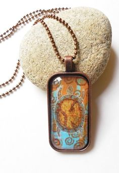 World in a Turtle Shell Artisan Glass and Metal Pendant by Jeanne Fry | ConsciousArtStudios - Jewelry on ArtFire