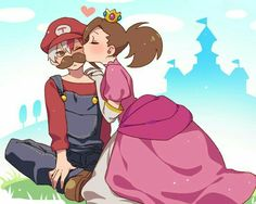 Shouto, Momo, couple, cute, Mario, Princess Peach, cosplay, Super Mario, crossover, kissing, blushing, heart, castle; My Hero Academia