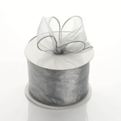 "10 Yards 2.5"" Silver Organza Wired Edge Ribbon Wholesale"