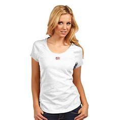 New England Revolution MLS Pep Womens V Neck Tee White
