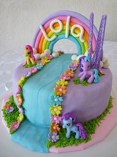 My Little Pony Cake i could so do the flowers to boarder the water like that...