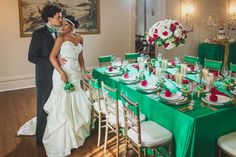 A bold & modern, emerald green and gold wedding styled shoot based on The Great Gatsby. Images by Lone Pine Photography.