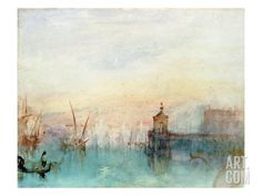 Venice with a First Crescent Moon by Joseph Mallord William Turner Moon Art Print, Art Prints, Italy Art Print, William Turner, Moon Art, Travel Art, Painting, Landscape Illustration, Art