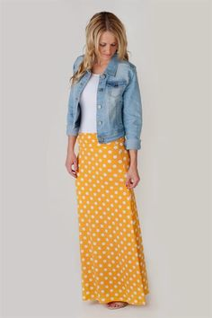 85fc74f627 Feminine Fun - Polka Dot Maxi Skirts! Maxi Skirt Outfits, Modest Outfits,  Modest