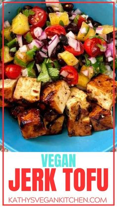 Jerk marinade is for vegetables, tofu, and veggie burgers.  This Jerk Tofu Recipe uses a perfect marinade before tossing it on the grill. Tofu Recipes, Delicious Vegan Recipes, Dinner Recipes, Tasty, Healthy Recipes, Jerk Marinade, Easy Vegan Dinner, Vegan Comfort Food, Vegan Kitchen
