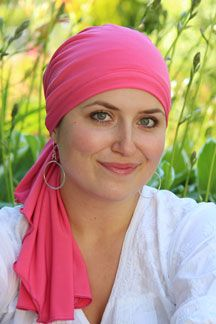 Ready for some Spring color? This fabulous pre-tied headscarf is ready to go in seconds. No folding or tying. A perfect scarf for cancer patients and women with medical hair loss.