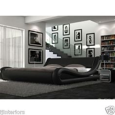 Details About Enzo Italian Modern Designer Double Or King Size Leather Bed Memory Mattress