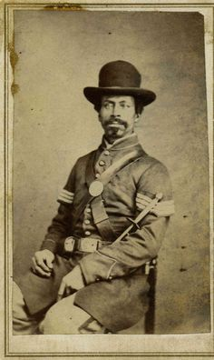 """HENRY GAITHER~""""One of the few free men of color in this book when the war began,Gaither+his regiment,the US Colored Infantry fought as hard as any white org.in the Union army,""""writes Coddington.""""This is one of my favorite images in the book. Black History Facts, Us History, History Quotes, History Timeline, European History, Ancient History, American Soldiers, American Civil War, Captain American"""