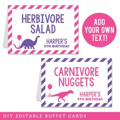Pink Dinosaur Party Editable Buffet Cards (INSTANT DOWNLOAD)
