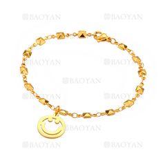 pulsera con sonrisa de dorado en acero para mujer-SSBTG1094310