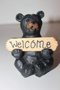 WELCOME ~ GO AWAY REVERSIBLE SIGN BLACK BEAR FIGURINE *NEW* http://www.ebay.com/soc/itm/400549399336