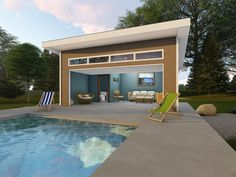 Simple pool house plan will dress up your backyard. Floor plan features a half bath and overhead garage door; Pool Deck Plans, Pool House Plans, Gazebo Plans, Barn Plans, New House Plans, Small Pool Houses, Modern Pool House, Pool House Decor, Modern Pools