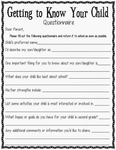 For Teachers A Back To School Parent Questionnaire Free Printable