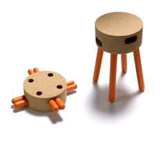 SENTA stool by Fernando Brizio AGGLOMERATED CORK, WOOD Dimensions: seat 255mm diam. x 443mm overall height. A fool-proof, pack & carry stool you can assemble and use anywhere. Four wooden legs slot into two oval-shaped openings in the thickness of the cork seat. Sturdy, flexible & practical, SENTA makes for a comfortable seat at home, on a picnic or fishing expedition. Simply stow away in the boot of a car, or kitchen cupboard.