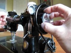 A short video showing how to convert a portable electric Singer sewing machine to a hand crank.