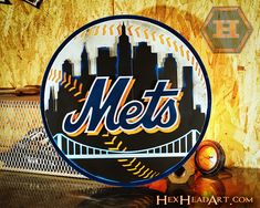 Officially licensed, one of a kind unique designs. Cincinnati Reds Baseball, New York Yankees Baseball, Sports Team Logos, Sports Art, Ny Mets, New York Mets, Baseball Wall, Baseball Teams, Baseball Posters