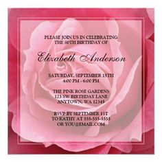 """Pink Rose Flower 80th Birthday Party 5.25"""" Square Invitation Card A beautiful 80th birthday party invitation featuring a photo of a pink rose flower. Easily customize with your party details! #80th #birthday #party #80th #birthday #eighty #eightieth #birthday #party #floral #flowers #pink #rose..."""