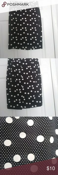 Black polka dot pencil skirt Black polka dotted pencil skirt with small and bigger polka dots made out of spandex nice and stretchy and polyester The Limited Skirts Pencil