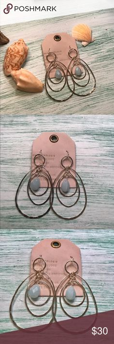 Anthropologie Semi Precious Ripple Hoop Earrings Gorgeous Anthropologie Ripple Hoop Earrings with A Semi Precious Stone.  Beautiful earrings with a pop of color!  Perfect gift for the holidays or to treat yourself! #anthropologie #earrings #holidays #gifts Anthropologie Jewelry Earrings