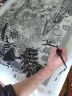 Angie Lewin working on the hand drawn separations for her screenprint 'Nature Study, Late Summer', commissioned by Pallant House Gallery, Chichester