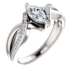 The near-colorless quality of this genuine and brilliant diamond ring is captivating. The center diamond on the engagement ring is 0.50 carats and the smaller r