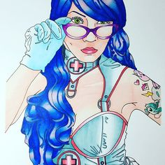 A new work inspired by #thehungryeyephotography #naughtynurse #coloringforadults #colouring #coloring #chameleonpens #bluehair #bluehairdontcare #nightnurse #alternative #altgirl #alternativegirl #alternativepinup @chameleonpens