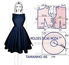 Vestido azul com molde - Moldes Moda por Medida