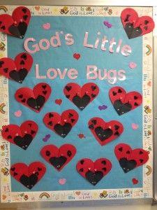Valentines ladybug bulletin board #heart #bug #craft