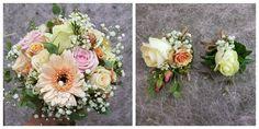 Handgebonden  bruidsboeket in wit en zalm kleuren en een tintje roze! Met bijpassende corsage voor hem en corsage voor de getuigen/gasten Corsage, Floral Wreath, Wreaths, Decor, Flower Crowns, Door Wreaths, Decorating, Deco Mesh Wreaths, Dekoration