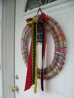 Back to School Wreath, Crayon, Chalkboard, Teacher Gift, Personalized