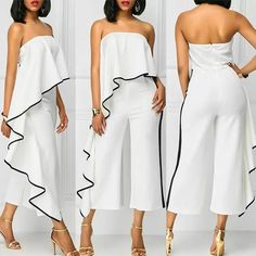 Strapless White Overlay Jumpsuit with Trim Long Jumpsuits, Jumpsuits For Women, Fashion Wear, Fashion Dresses, Womens Fashion, Mode Kimono, Couture, Elegant Outfit, African Dress