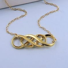 Gold Infinity Necklace Double Infinity von CrystalSongJewels