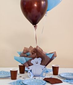 Teddy Bear Baby Shower Balloon Centerpieces With Personalized Teddy Bear  Table Decorations   Light Blue Or Choice Of Colors