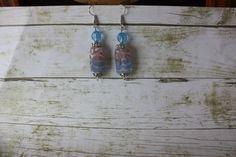 Pink and Blue Earrings Pink Earrings Blue by BrownBeaverBeadery
