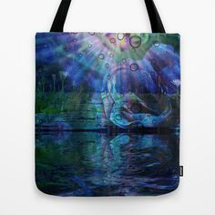 Beneath true light the magic shows and sighs quite softly as it grows Tote Bag