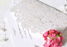 Paris laser cut wedding invitation