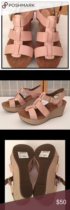 """Clark's Caslynn Reece Wedge Leather upper, adjustable closure quarter ankle strap, comfort cushioned footbed. 1.25"""" platform with 3"""" woven wedge heel. Rubber sole. Clarks Shoes Platforms"""