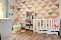 Peach and Mint Nursery with Triangle Decal Accent Wall - love this sleek look!
