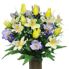 Yellow Tulips and Purple Iris with Stay-In-The-Vase � Design Cemetery Flowers (MD1233)