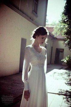 1af351594bae Simple Wedding Dress With Sleeves, Plain Wedding Dress, 1970s Wedding  Dress, Wedding Dress