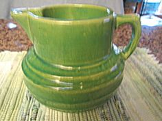 McCoy Yellow Ware Buttermilk Pitcher (McCoy Pottery) at More Than McCoy Mccoy Pottery Vases, Hull Pottery, Antique Stoneware, Or Antique, Antique Glass, Green Bowl, Pottery Marks, Vintage Green, Vintage Stuff