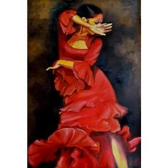Original Oil Painting Flamenco Dancer - Red Dress - Painting of Woman Dress Painting, Woman Painting, Figure Painting, Old Paintings, Original Paintings, Red And Black Background, Wedding Canvas, Dramatic Arts, The Dancer