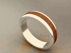 3d jewelry. Silver ring with wood inlay