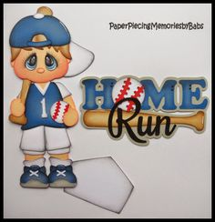 Home Run Baseball Set created by PAPER PIECING MEMORIES BY BABS for scrapbook pages. Pattern by Cuddly Cute Designs