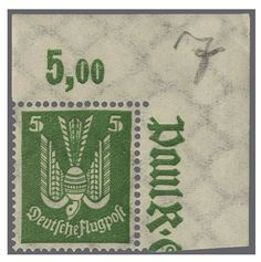 German Empire, 1923/32 Weimar Republic. 5 Pf. green and 20 Pf. blue, both with lying watermark and in perfect condition mint never hinged, in each case from right upper corners of the sheet. Certificates Schlegel (1987 / 1988) . Michel 1140.- +. Katalog-no. 344Y, 346Y appraisal 150.- till 200.-  Dealer Rapp Auctions  Auction Minimum Bid: 150.00SFr