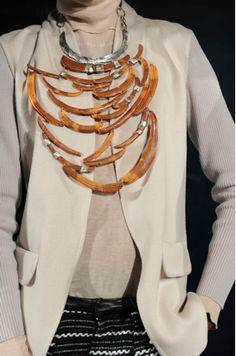 M.Patmos Tribal Necklace -   New York Fashion Week A/W'12 Jewelry Trend  pine wood, silver